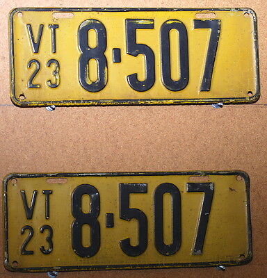 Vermont Pair of 1923 License Plates