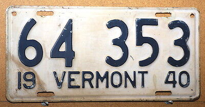 Vermont 1940 License Plate