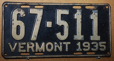 Vermont 1935 License Plate