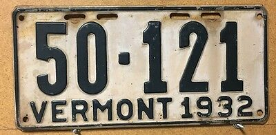 Vermont 1932 License Plate
