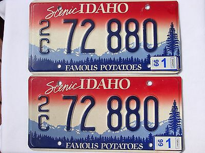 1999 Scenic IDAHO CANYON COUNTY (2C) Vintage License Plate PAIR #72 880