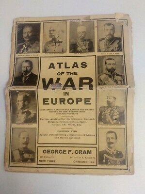 Atlas of the War in Europe George F. Cram Large Scale Maps Navies and Armies