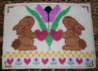 WonderArt Bunnies & Tulip Latch Hook Rug Or Wall Hanging