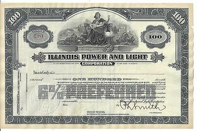 Illinois Power And Light Corporation...unissued Stock Certificate