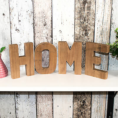 Dark Brown Freestanding HOME Letters Word Art Ornament Decor Object Item Plaque