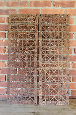 "2 Antique Cast Iron Register Heat Vent Grate Architectural 12"" x 36"""
