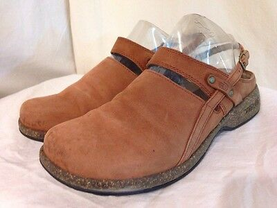 Women's Brown Leather Teva Mules-Size 6