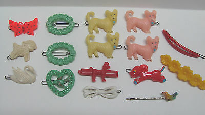 ChIlDrEnS Vintage BARRETTES LOT Hair pins Dogs Lamb Butterfly