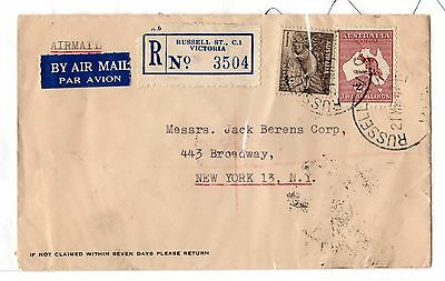 Australia 1947 Airmail Registered Commercial Cover To New York X5597