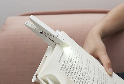 Kikkerland Clothespin White Clothes Peg Clip On Reading Book Light Tablet-BL03