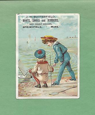 CHILDREN, BEACH On J. H. BUTTERFIELD SHOES Victorian Trade Card--SPRINGFIELD, MA
