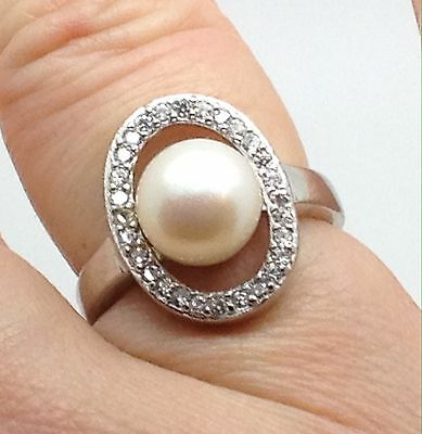 Freshwater Pearl And Cubic Zirconia Sterling Silver Ring, Halo, UK Size M 1/2