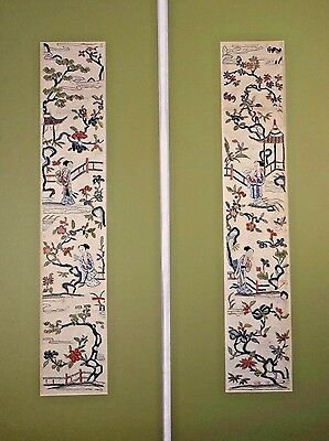 19th C. Qing [Ching] [Ch'ing] D. Chinese Silk Embroidered Matted Sleeve Panels