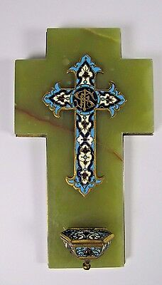 Holy Water Font: Antique French Champleve Enamel Cloisonne Onyx 19thC Crucifix