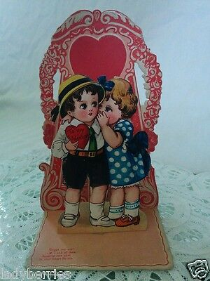 Vintage Valentine's Day fold out greeting card red heart Sweetheart Germany