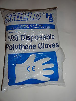 DISPOSABLE POLYTHENE GLOVES 100 CLEAR XL size  MADE BY SHIELD