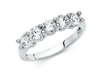 14k White Gold Round Cut 1.25 Ct Diamond 5 stone Engagement Ring Wedding Band