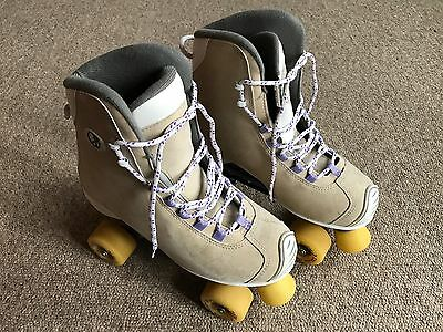 Sfr - Roller Skates - Sand Colour - Size 7 - Used - Yellow Wheels/stopper -