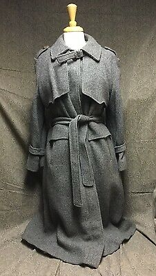 Vintage Grey Wool Heavy Lined Overcoat Rain Trench Coat Jacket Long Brown Button
