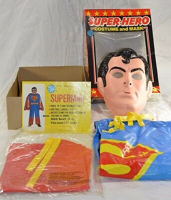 Vintage 1976 Ben Cooper Halloween Costume & Mask Superman Complete With Cape