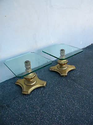Pair of Mid Century Mdern Gold-Leaf Glass-Top Side Tables 5165