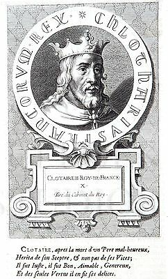 """Clotaire II, King of France (Son of Fredegund) Engraving - c1650 - 9"""" x 14"""""""