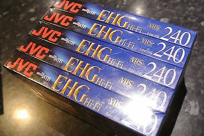 JVC E240 Blank VHS Cassette 4 Pack of Tapes 4 hours Sealed New EHG Hi-Fi