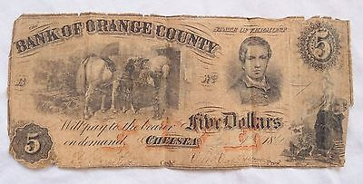 Bank of Orange County Chelsea State of Vermont 5 Dollar Note 1861 VT Old Antique