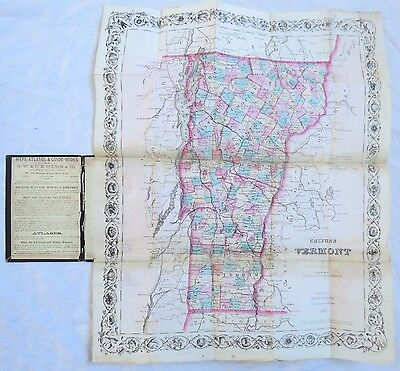 1870 Vermont Map Colton's Folding Pocket Hand Colored Old Vtg Antique