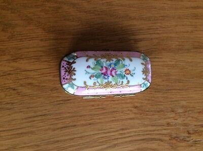 Collectables enamalled flower and gold pattern trinket box vintage
