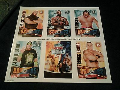 new wwe topps slam attax rivals 2015 trading cards sheet