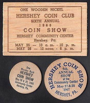 Lot of (3) Hershey Coin Club  Wooden Tokens, 1966, 1967 & 1968  Hershey PA