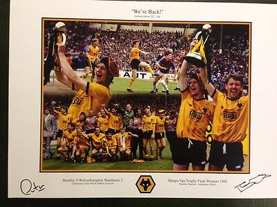 Andy Mutch & Robbie Dennison Wolves Limited Edition Signed 1988 Wembley Prints