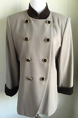 Vtg Wool Tan Jacket Blazer Double Breast Mandarin Collar Velvet Trim Long Wms 12
