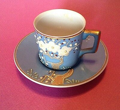Blue Demitasse Tea Cup And Saucer - Hand Applied Raised Moriage - Occupied Japan