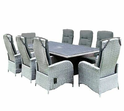 *SALE REDUCED* Pavia 8 Seat Rattan Set Garden Patio Lounge Dining Table Chairs