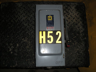 Used Square D H-361 Fused Disconnect Switch 3Ph, 30A, 600V