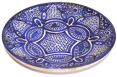 """Antique Moroccan Pottery Round Footed 12"""" Blue & White Bowl, Signed"""