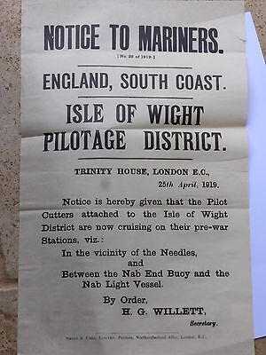 """Trinity House  Notice April 1919  """"isle Of Wight  Pilotage District"""