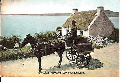 Irish Jaunting car and cottage early postcard