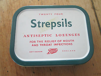 Vintage Old Boots Chemists Advertising tin for Strepsils medicated Lozenges VGC