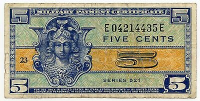 Military Payment Certificate - Series 521 - Five Cents AJ725