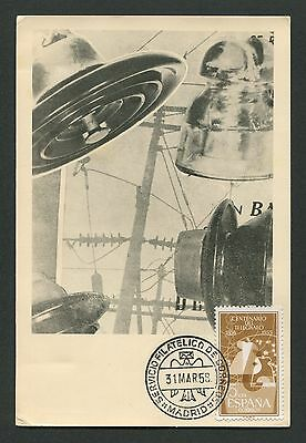 SPAIN MK 1958 TELEGRAFIE TELEGRAPHY MAXIMUMKARTE CARTE MAXIMUM CARD MC CM c9305