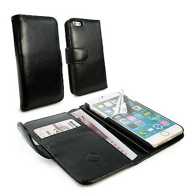 Tuff-Luv Vintage Genuine Leather Wallet-Style Case Cover for iPhone 7 - Black