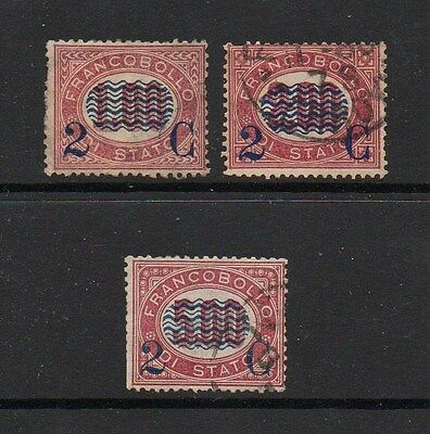 Italy 1878 Surcharges On Official Stamps Sg O27-29 Good Used High Cat Value £30