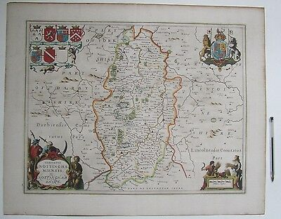 Original Jan Jansson map of Nottinghamshire 1646 Latin text verso frame optional