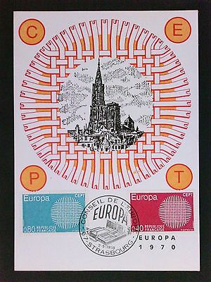 FRANCE MK 1970 EUROPA CEPT STRASBURG MAXIMUMKARTE CARTE MAXIMUM CARD MC CM c9495