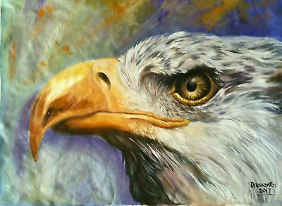 "AMERICAN  BALD EAGLE  "" oil on canvas 18X24"" original painting  BEAUTIFUL!"