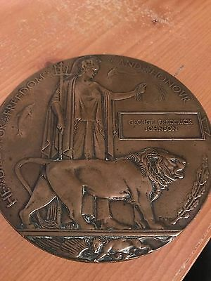 Wwi Death Plaque - George Frederick Johnson