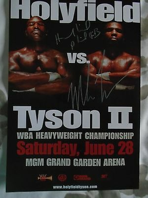 Signed A4 Print of Evander Holyfield & Mike Tyson 1 week only sale